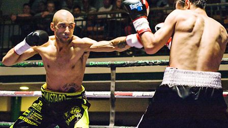 'Mustard Mike' Peart (left) during his victory against Danail Stanoev in September. Pic: TGS Photo