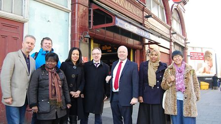 Councillors and members of the public outside Caledonian Road Station on January 19, after TfL annou