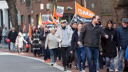 Islington residents and supporters march along Rosebery Avenue in a protest opposing the government'