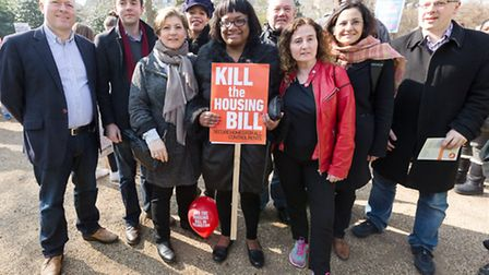 Emily Thornberry MP and Diane Abbott MP with Islington councillors in Lincoln's Inn Fields at a prot