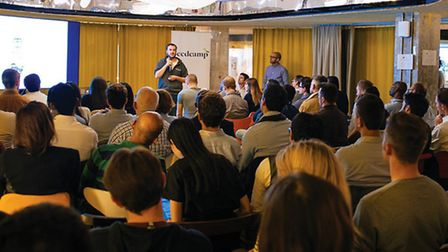 Carlos speaking at a Seedcamp event
