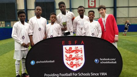 St Aloysius' RC College's victorious team at the English Schools five-a-side Championships. Left to