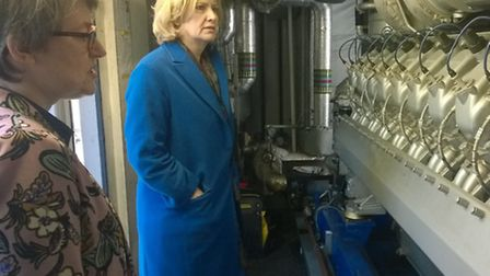Energy Secretary Amber Rudd (right) with Lucy Padfield, Islington Councils Energy Services Manager,