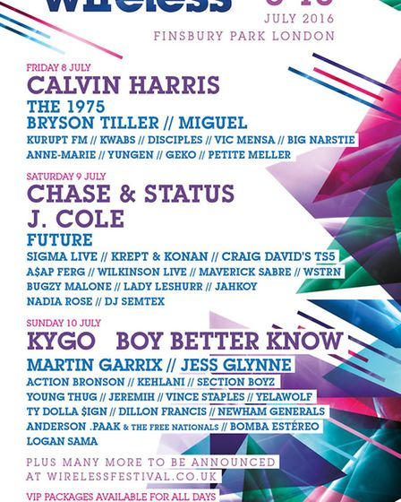 The first wave of acts performing at the Wireless Festival has been announced
