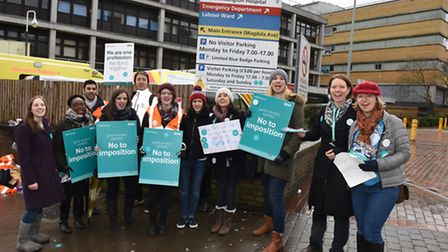 Junior doctors striking outside the Whittington Hospital this morning. Picture: Ken Mears