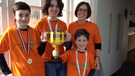 Elye, 11, Aaron, 14, Ilana and Rubbish Runners mascot Saul Cuthbertson, from Willesden Green, who ar