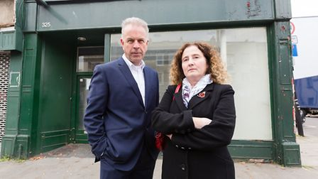 Caledonian ward Cllrs Paul Convery and Una O'Halloran outside 325 Caledonian Road last year. They we