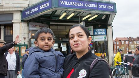 Rita Begum and Shakim, 3, wait for Sadiq Khan in vein at Willesden Green Pic credit: Jonathan Gol