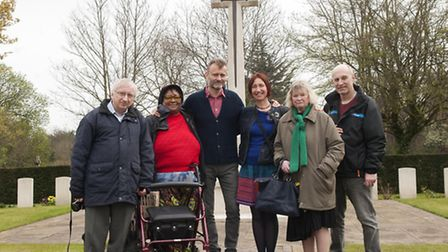 Hugh Dennis, centre, with members of Age UK Islington at Islington and Camden Cemetery. Picture: Nig