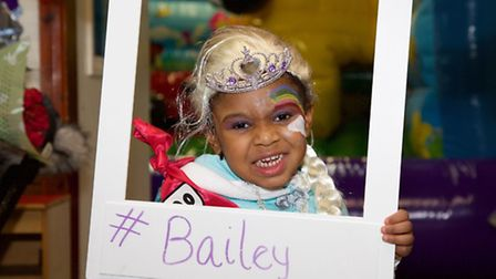 Bailey with her Twitter hashtag at Bailey's Fun Day. Photo by Adam Tiernan Thomas