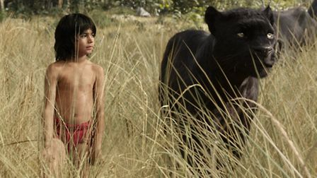Bagheera voiced by Ben Kingsley and Neel Sethi as Mowgli in The Jungle Book. Picture: Disney Entrepr