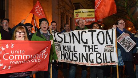Protesters against the government's Housing Bill gather outside Islington Town Hall last night. Pict