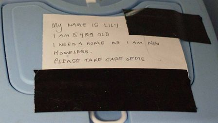 The note found with Lily the cat who was saved by the persistent barking of Maisie the dog then take