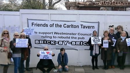 Friends of Carlton Tavern and fellow campaigners met to mourn the Carlton Tavern a year on from when