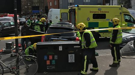 Emergency services in Seven Sisters Road, outside Finsbury Park station, after the crash this aftern