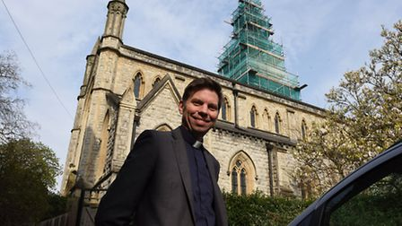 Reverend Jonathan Brewster outside Christ Church Highbury. The church has just received a £200,000 g