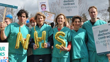 G Stephen Mangan, Julian Rhind-Tutt, Pippa Haywood, Tamsin Greig and Oliver Chris join a picket line
