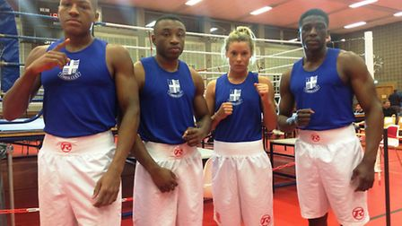 The Islington BC quartet that represented London ABA against Munich, left to right: Aaron Nicely, La