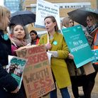 Junior doctors strike outside the Whittington Hospital this morning. Picture: Polly Hancock