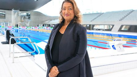 Dame Zaha Hadid at the London Aquatics Centre (Picture: Rahil Ahmad)