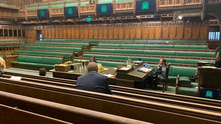 An absence of MPs in the House of Commons chamber