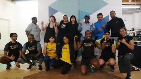 Rey Smart with members of his running club