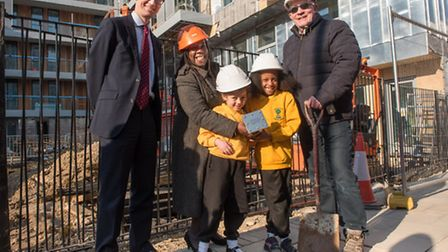 Left to right: Tom Jackson , Bouygues Development, Cllr Margaret McLennan, Carlton Vale Primary Scho