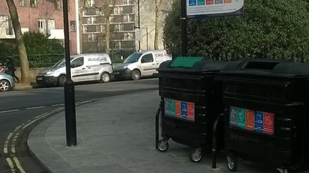 The snake was found next to these recyling bins in Cleveland Square (Pic: Westminster Station)