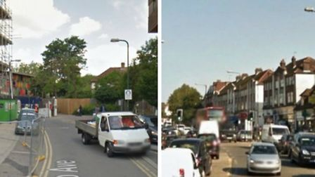 The shootings took place in Hilltop Avenue, left, and Kingsbury Road (Pic: Google)