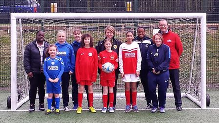 Local league players and officials at Market Road with coaches Sarah Cleary (right, front row) and N