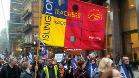 Islington NUT members at a previous demonstration against the academisation plans. Picture: Ken Mull