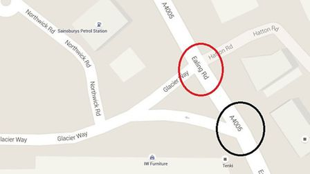 The first right turn into Glacier Way, circled red, was blocked by road works so the couple took th