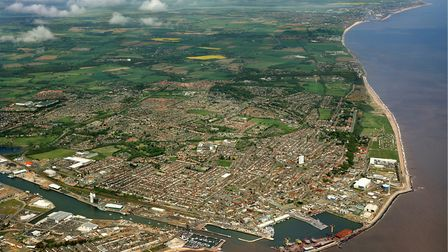 An aerial view of Lowestoft, looking north. Picture: Mike Page.