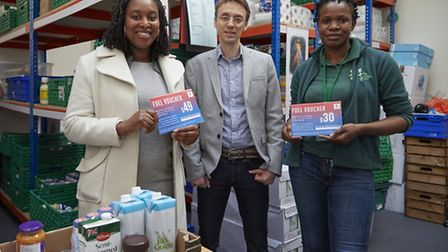 Dawn Butler MP for Brent Central with Matt Cole from npower and Michele Lawrence, Brent Foodbank man