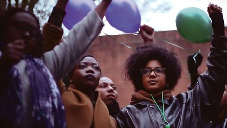 Protesters release balloons outside HMP Holloway yesterday (Picture: Jade Jackman)