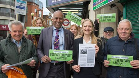Sian Berry Green Party Mayoral candidate canvassing in Willesden Green with a resident, Shahrar Ali,