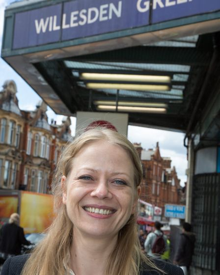 Sian Berry Green Party Mayoral candidate canvassing in Willesden Green