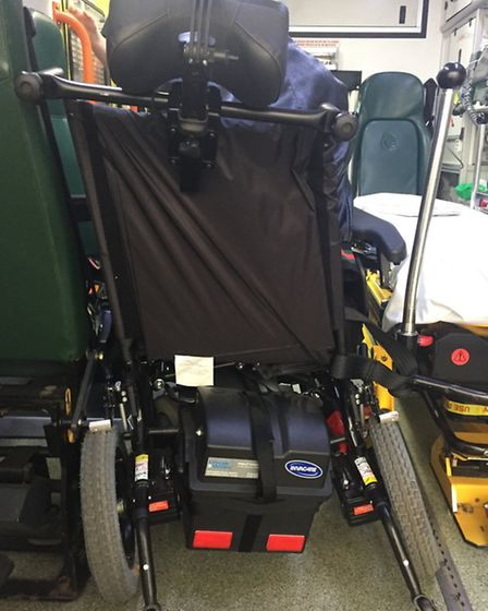 Rebecca Bruce's wheelchair, pictured in the ambulance after she was hit by a bus in Hazellville Road