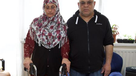 Noreen Khan, who has motor neurone disease & husband Arif Khan in their temporary accommodation. Pic