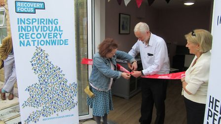 Jeremy Corbyn cuts the ribbon to officially open the refurbished St George's Care Home in Holloway.