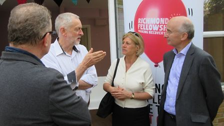 Jeremy Corbyn chats to bosses of the Richmond Fellowship, which runs St George's Care Home in Hollow