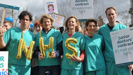 Stephen Mangan, Julian Rhind-Tutt, Pippa Haywood, Tamsin Greig and Oliver Chris join a picket line o