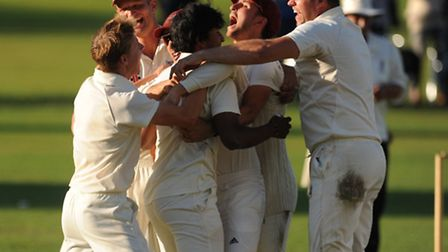 Highgate celebrate after clinching promotion from Middlesex County League Division Three last season