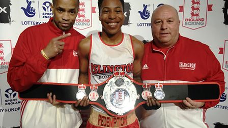Islington BC's Cherrelle Brown shows off her England Boxing Elite Championship belt with coaches Jer
