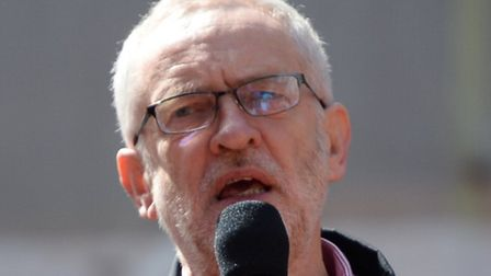 Jeremy Corbyn addresses the crowd in Clerkenwell Green to mark the May Day rally. Picture: Anthony D