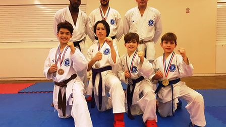 The Veras Academy squad at the EKF National Championships. Back row, left to right: Sensei Alton Bro