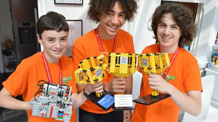 Elye Cuthbertson, Kyran Richards and Aaron Cuthbertson (14) with their awards (Pic: Polly Hancock)