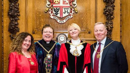 Cllr Kat Fletcher with her consort Rev Melanie Toogood and deputy mayor Una O'Halloran with her cons