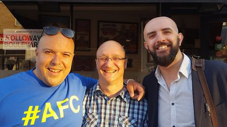 Arsenal fans Layth Yousif, Stephen Moszoro and David Oudot at the Miracle of Copenhagen book launch