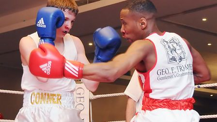 Islington BC's Troy Smart (right) in action against Conner Downs (Far Cotton Boys ABC)